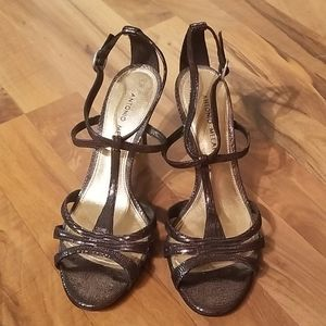 Antonio Melani Metallic Black Gold Heels Size 8